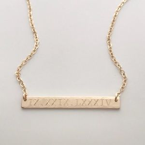 Jewelry - 14K Gold Filled Textured Engraved Bar Necklace